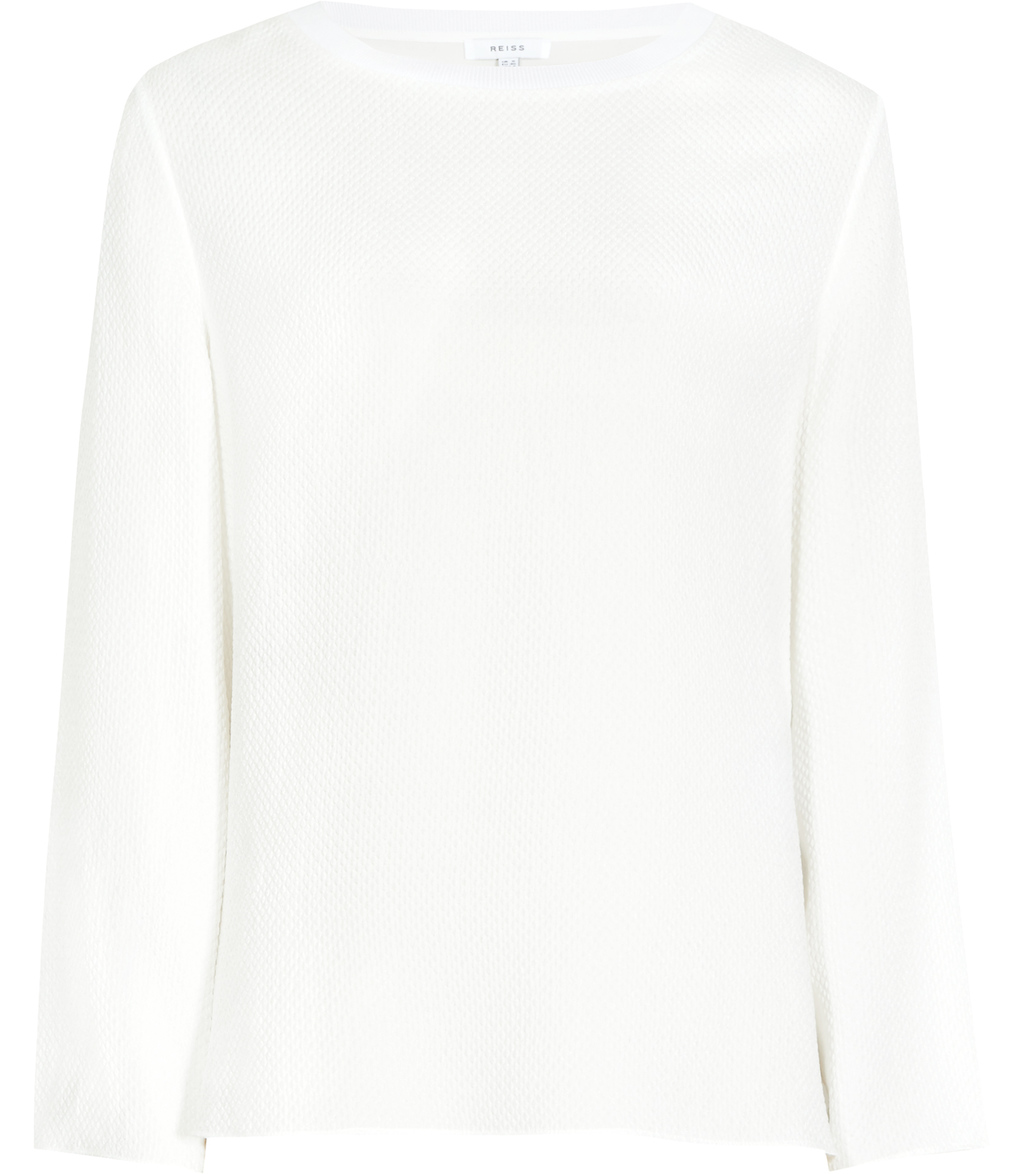 Yasmin Womens Textured Long Sleeved Top In White - pattern: plain; predominant colour: white; occasions: casual; length: standard; style: top; fibres: silk - 100%; fit: body skimming; neckline: crew; sleeve length: long sleeve; sleeve style: standard; texture group: silky - light; pattern type: fabric; season: s/s 2016; wardrobe: basic