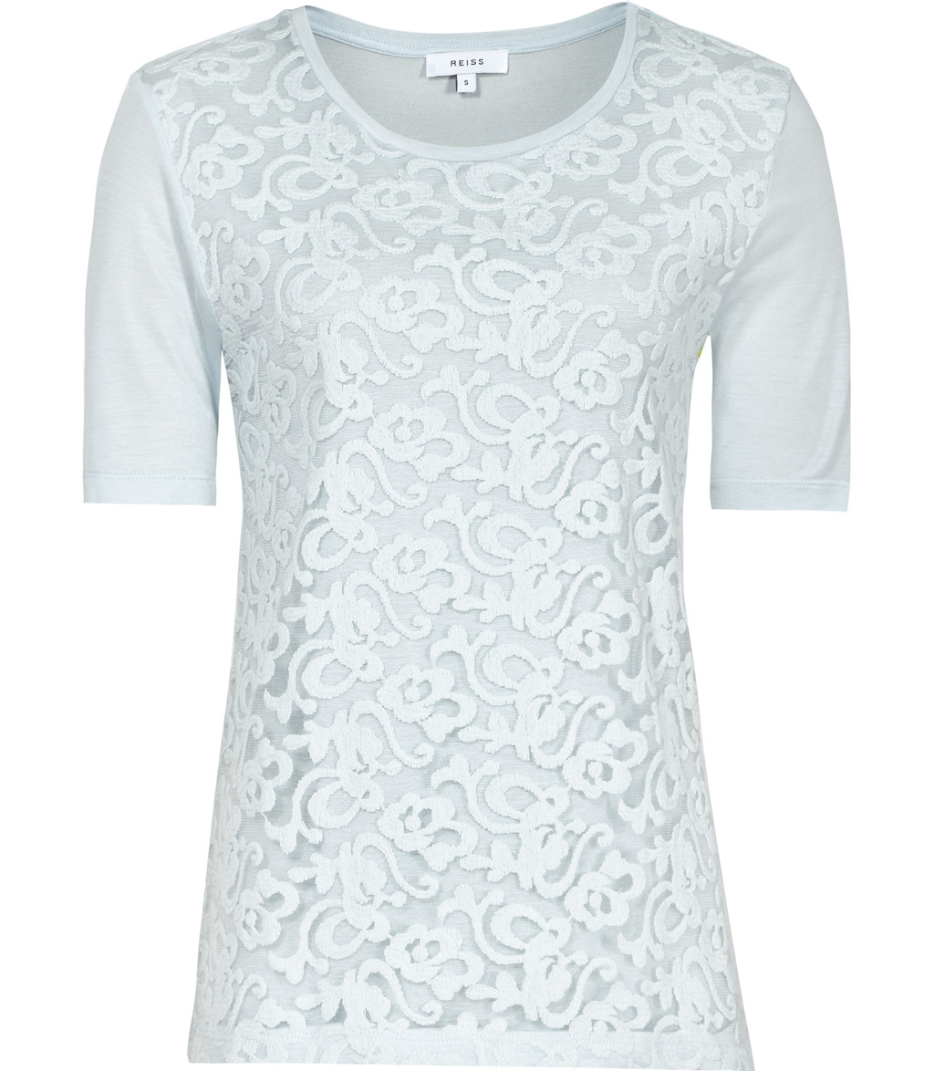 Yoko Womens Lace Front T Shirt In Blue - predominant colour: pale blue; occasions: evening; length: standard; style: top; fibres: viscose/rayon - 100%; fit: body skimming; neckline: crew; sleeve length: short sleeve; sleeve style: standard; texture group: lace; pattern type: fabric; pattern size: standard; pattern: patterned/print; embellishment: lace; season: s/s 2016; wardrobe: event