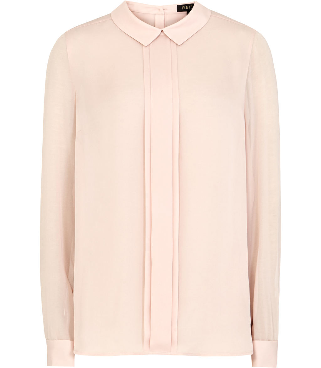Lola Womens Silk Button Back Shirt In Cream - pattern: plain; style: blouse; predominant colour: blush; occasions: casual; length: standard; fibres: silk - 100%; fit: body skimming; neckline: no opening/shirt collar/peter pan; sleeve length: long sleeve; sleeve style: standard; texture group: crepes; pattern type: fabric; season: s/s 2016; wardrobe: basic