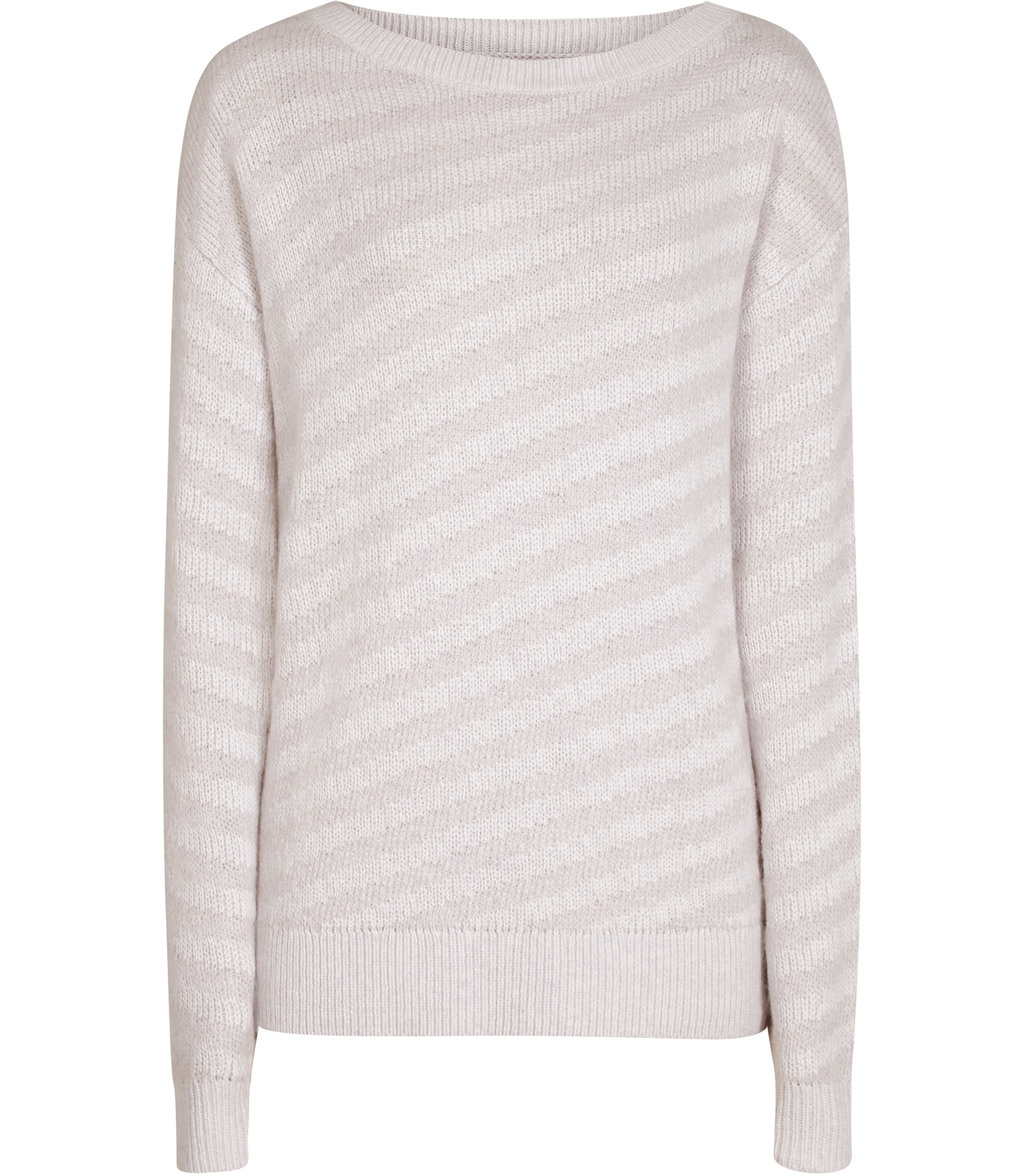 Diva Womens Tonal Stripe Jumper In Grey - pattern: striped; style: standard; predominant colour: light grey; occasions: casual; length: standard; fibres: nylon - mix; fit: slim fit; neckline: crew; sleeve length: long sleeve; sleeve style: standard; texture group: knits/crochet; pattern type: knitted - fine stitch; season: s/s 2016; wardrobe: highlight