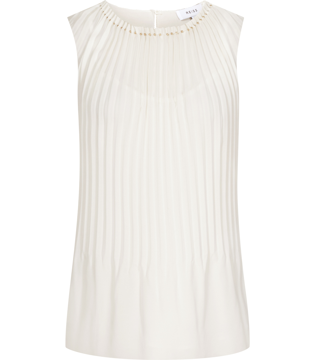 Blooms Womens Pleat Front Top In White - pattern: plain; sleeve style: sleeveless; predominant colour: white; occasions: evening; length: standard; style: top; fibres: polyester/polyamide - 100%; fit: body skimming; neckline: crew; sleeve length: sleeveless; pattern type: fabric; texture group: other - light to midweight; season: s/s 2016; wardrobe: event