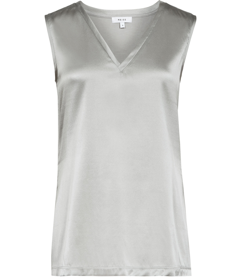 Fi Womens Silk Front Tank Top In Grey - neckline: v-neck; pattern: plain; sleeve style: sleeveless; predominant colour: light grey; occasions: evening; length: standard; style: top; fibres: silk - mix; fit: body skimming; sleeve length: sleeveless; pattern type: fabric; texture group: jersey - stretchy/drapey; season: s/s 2016; wardrobe: event