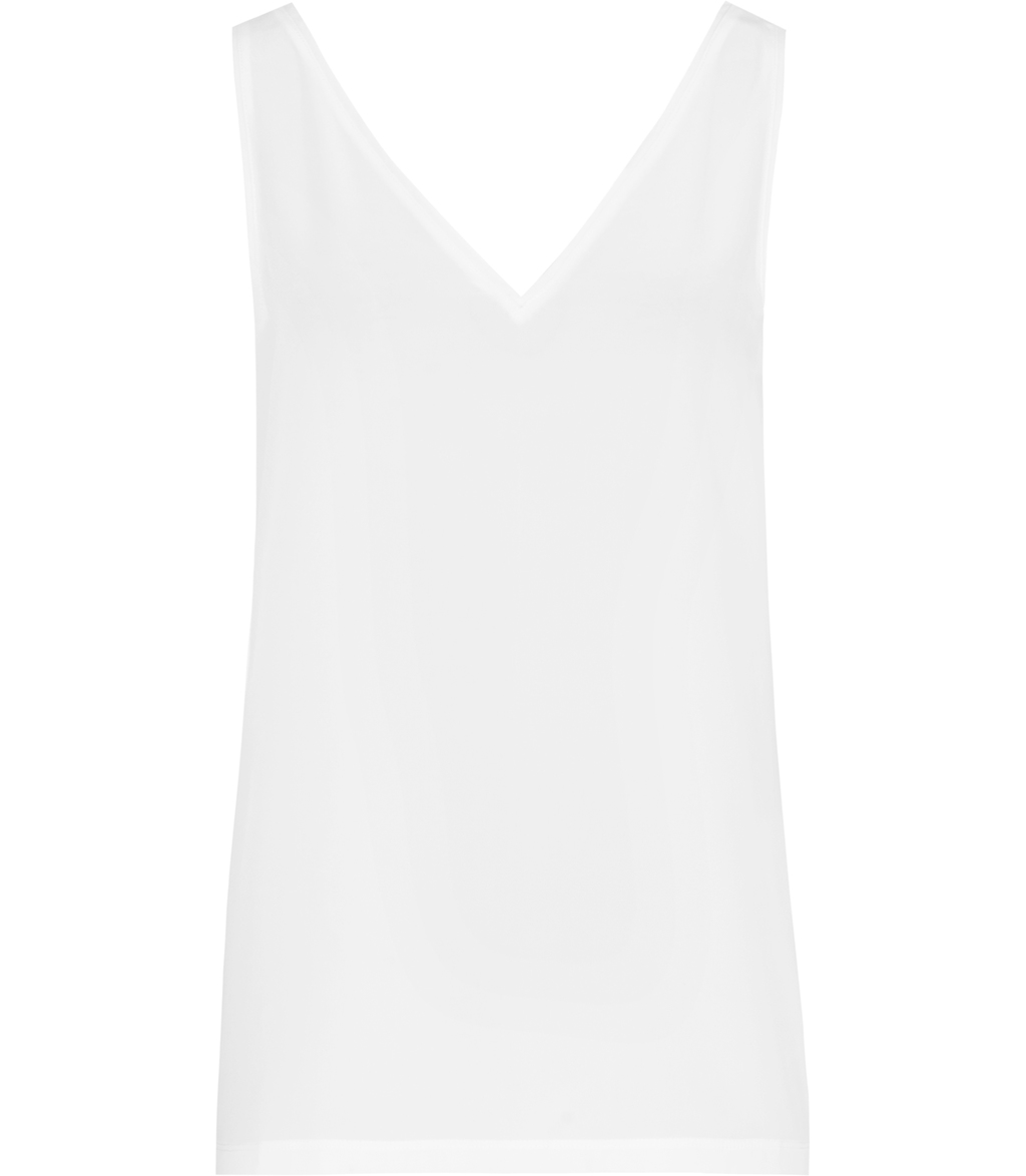Mikaela Womens Silk Front Tank Top In White - neckline: v-neck; pattern: plain; sleeve style: sleeveless; style: vest top; predominant colour: white; occasions: evening; length: standard; fibres: silk - mix; fit: body skimming; sleeve length: sleeveless; texture group: silky - light; pattern type: fabric; season: s/s 2016; wardrobe: event