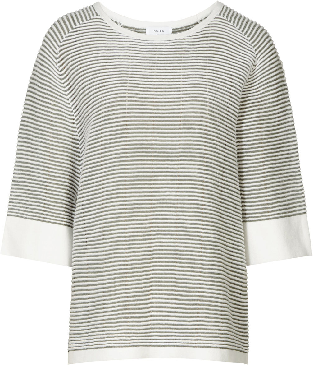 Dariela Womens Striped Ribbed Knit In Green - sleeve style: dolman/batwing; pattern: horizontal stripes; style: standard; secondary colour: ivory/cream; predominant colour: dark green; occasions: casual; length: standard; fibres: wool - mix; fit: standard fit; neckline: crew; sleeve length: 3/4 length; texture group: knits/crochet; pattern type: knitted - fine stitch; pattern size: standard; season: s/s 2016; wardrobe: highlight