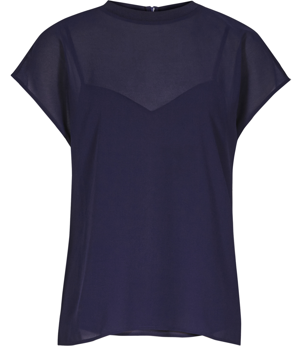 Aspen Womens Semi Sheer Top In Blue - sleeve style: capped; pattern: plain; neckline: high neck; predominant colour: navy; occasions: evening; length: standard; style: top; fibres: polyester/polyamide - 100%; fit: body skimming; sleeve length: short sleeve; texture group: crepes; pattern type: fabric; season: s/s 2016