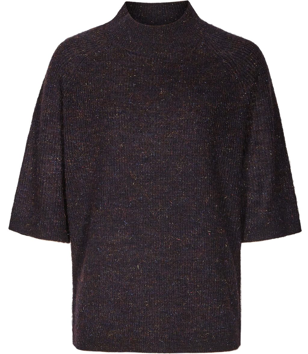 Cyra Womens Multi Tonal Jumper In Blue - sleeve style: dolman/batwing; neckline: high neck; style: standard; predominant colour: navy; occasions: casual; length: standard; fibres: wool - mix; fit: loose; sleeve length: half sleeve; texture group: knits/crochet; pattern type: knitted - other; pattern size: light/subtle; pattern: marl; season: s/s 2016; wardrobe: basic