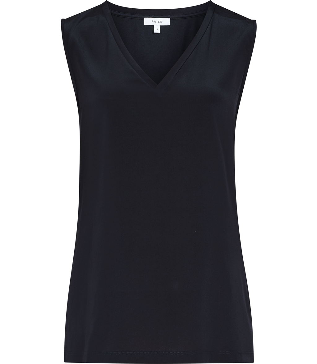 Fierce Womens Silk Front Tank Top In Blue - neckline: v-neck; pattern: plain; sleeve style: sleeveless; predominant colour: navy; occasions: evening; length: standard; style: top; fibres: silk - mix; fit: body skimming; sleeve length: sleeveless; texture group: crepes; pattern type: fabric; season: s/s 2016; wardrobe: event