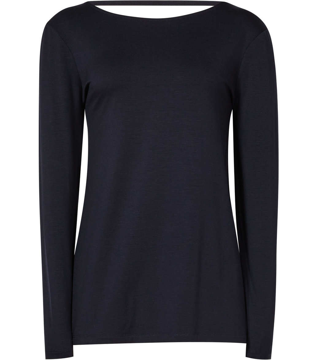Maisie Womens Low Back Top In Blue - pattern: plain; predominant colour: navy; occasions: casual; length: standard; style: top; fibres: viscose/rayon - stretch; fit: body skimming; neckline: crew; sleeve length: long sleeve; sleeve style: standard; pattern type: fabric; texture group: jersey - stretchy/drapey; season: s/s 2016