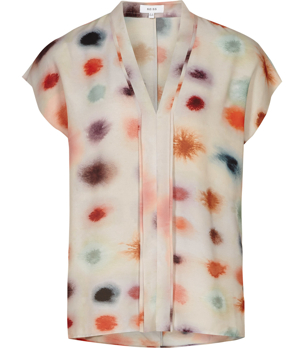 Lara Womens Printed Sleeveless Top In White - neckline: v-neck; predominant colour: white; secondary colour: bright orange; occasions: casual; length: standard; style: top; fibres: polyester/polyamide - 100%; fit: body skimming; sleeve length: short sleeve; sleeve style: standard; pattern type: fabric; pattern: patterned/print; texture group: other - light to midweight; multicoloured: multicoloured; season: s/s 2016; wardrobe: highlight
