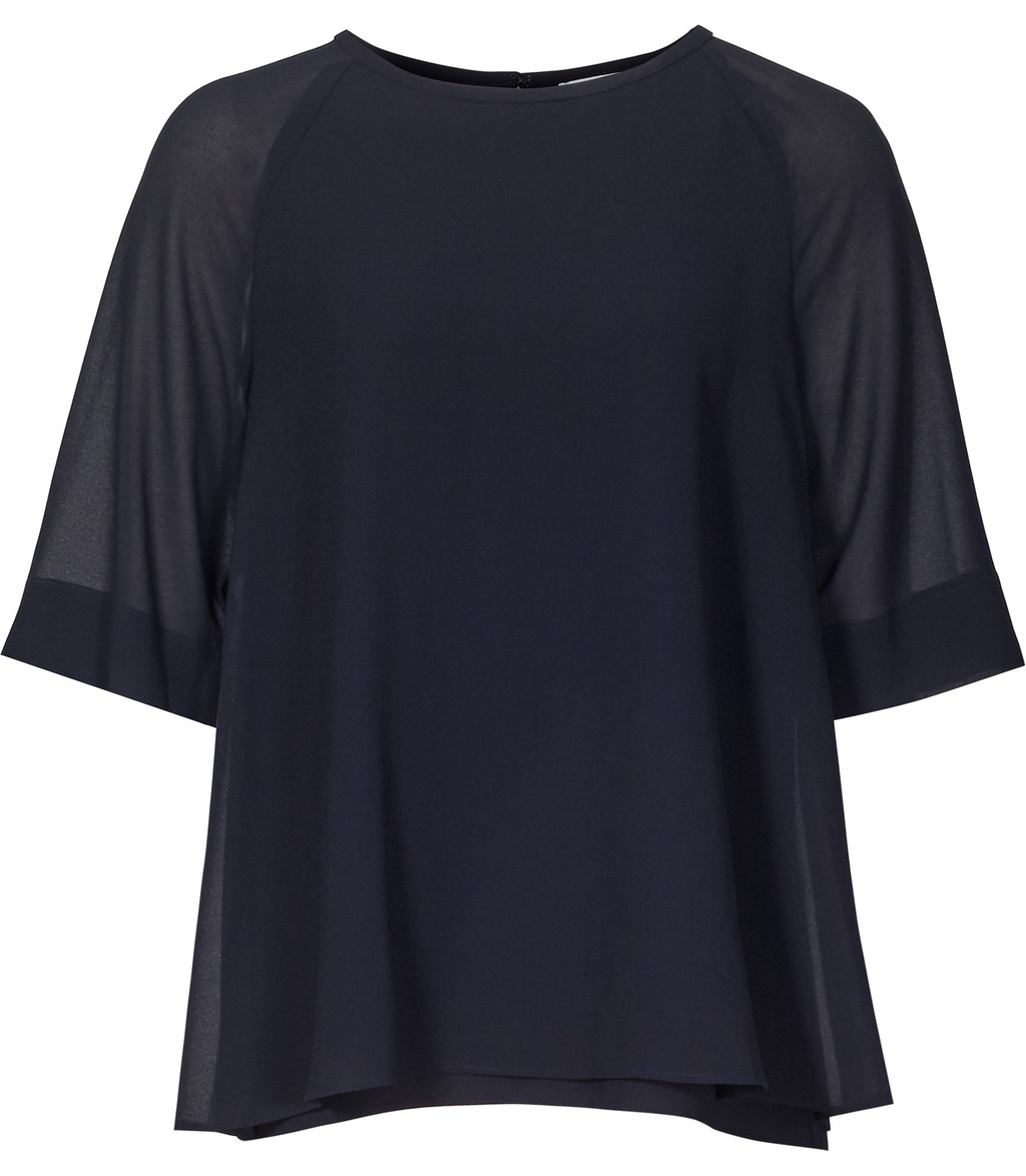 Ryder Womens Double Layer Top In Blue - neckline: round neck; sleeve style: raglan; pattern: plain; predominant colour: navy; occasions: casual, work, creative work; length: standard; style: top; fibres: polyester/polyamide - 100%; fit: loose; hip detail: subtle/flattering hip detail; sleeve length: half sleeve; texture group: sheer fabrics/chiffon/organza etc.; pattern type: fabric; season: s/s 2016; wardrobe: basic