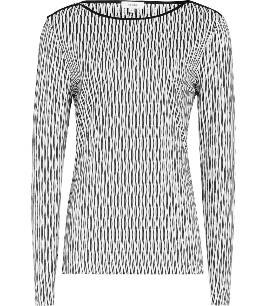 Mirror Womens Interest Jersey Top In White - neckline: round neck; predominant colour: light grey; secondary colour: black; occasions: casual, work, creative work; length: standard; style: top; fibres: polyester/polyamide - stretch; fit: body skimming; sleeve length: long sleeve; sleeve style: standard; pattern type: fabric; pattern: patterned/print; texture group: jersey - stretchy/drapey; pattern size: big & busy (top); season: s/s 2016; wardrobe: highlight
