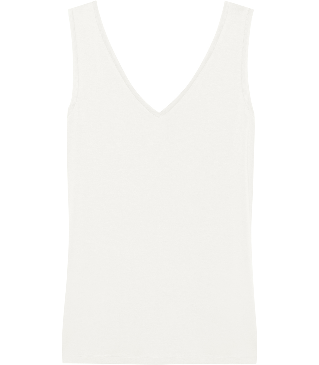 Ona Womens V Neck Tank Top In White - neckline: v-neck; sleeve style: standard vest straps/shoulder straps; pattern: plain; style: vest top; predominant colour: ivory/cream; occasions: evening; length: standard; fibres: viscose/rayon - stretch; fit: body skimming; sleeve length: sleeveless; pattern type: fabric; texture group: jersey - stretchy/drapey; season: s/s 2016