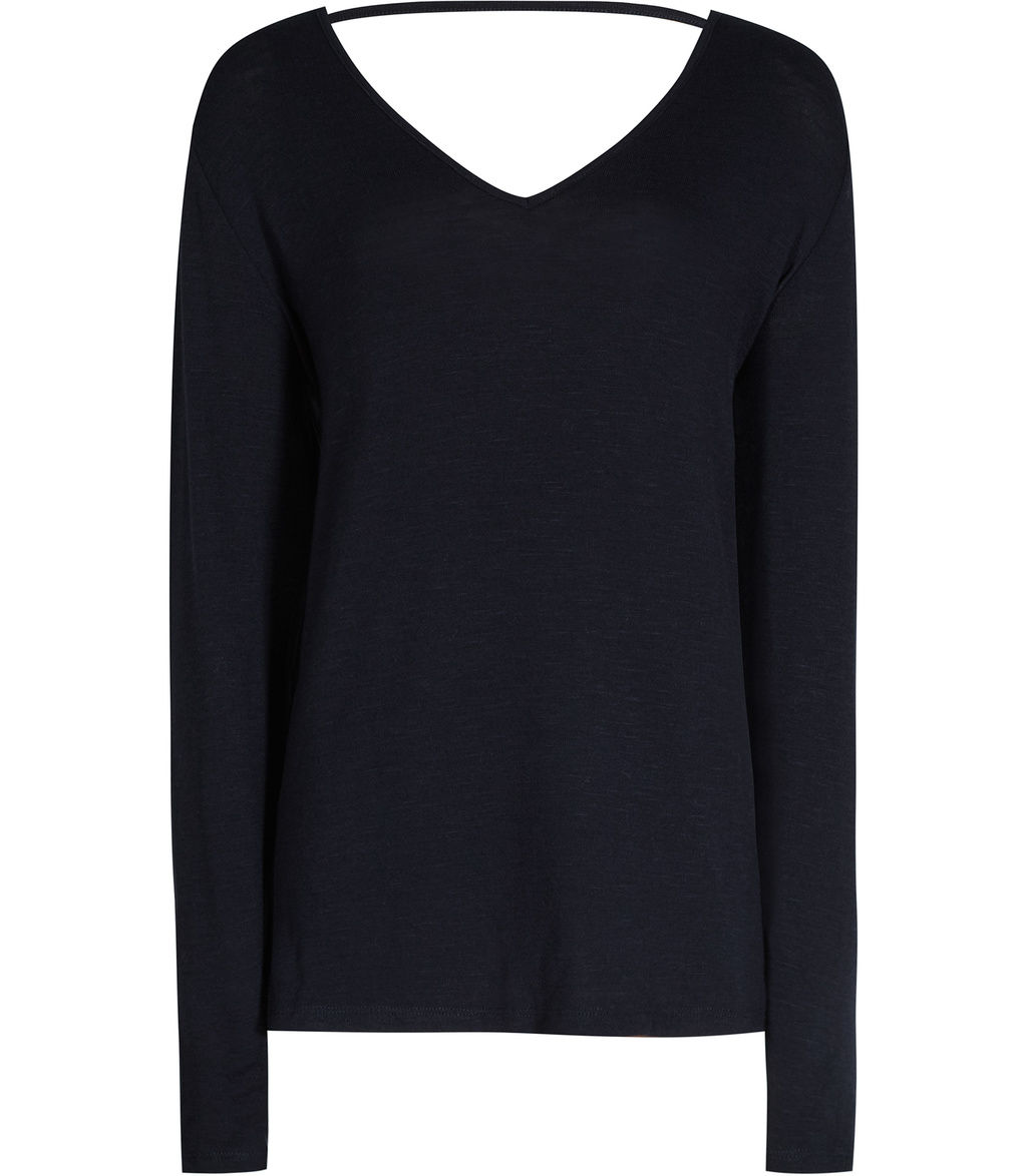 Laverne Womens V Back Jumper In Blue - neckline: v-neck; pattern: plain; length: below the bottom; back detail: low cut/open back; style: standard; predominant colour: black; occasions: casual, evening, creative work; fibres: polyester/polyamide - stretch; fit: loose; sleeve length: long sleeve; sleeve style: standard; texture group: knits/crochet; pattern type: knitted - fine stitch; season: s/s 2016; wardrobe: highlight