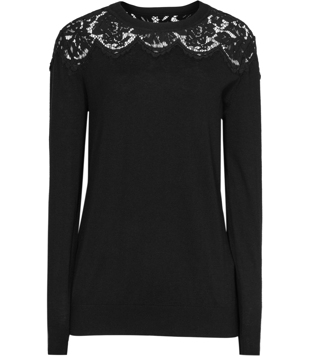 Emile Womens Lace Shoulder Jumper In Black - pattern: plain; length: below the bottom; style: standard; predominant colour: black; occasions: casual, creative work; fibres: cotton - mix; fit: standard fit; neckline: crew; sleeve length: long sleeve; sleeve style: standard; texture group: knits/crochet; pattern type: knitted - fine stitch; season: s/s 2016; wardrobe: highlight; embellishment: contrast fabric; embellishment location: neck, shoulder