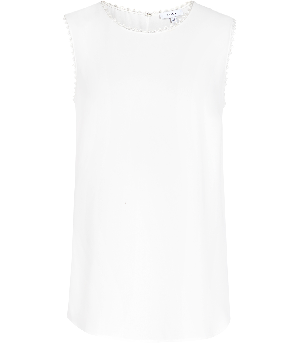 Acorn Womens Lace Trimmed Tank Top In White - neckline: round neck; pattern: plain; sleeve style: sleeveless; predominant colour: white; occasions: casual, creative work; length: standard; style: top; fibres: polyester/polyamide - 100%; fit: straight cut; sleeve length: sleeveless; pattern type: fabric; texture group: other - light to midweight; embellishment: lace; season: s/s 2016; wardrobe: highlight