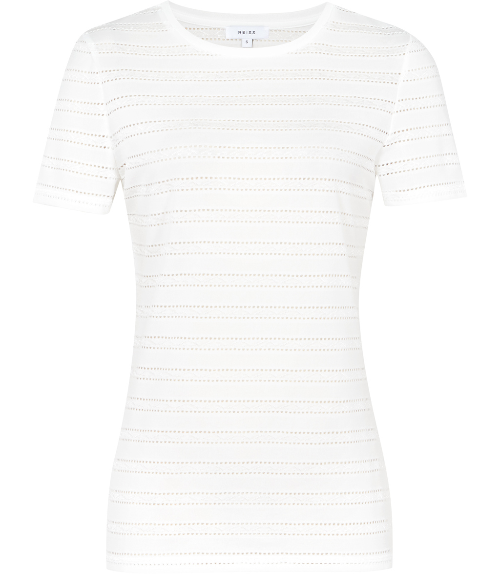 Molly Womens Cut Away Stripe Top In White - neckline: round neck; pattern: horizontal stripes; length: below the bottom; predominant colour: white; occasions: casual, work, creative work; style: top; fibres: polyester/polyamide - 100%; fit: body skimming; sleeve length: short sleeve; sleeve style: standard; pattern type: fabric; pattern size: light/subtle; texture group: jersey - stretchy/drapey; season: s/s 2016; wardrobe: basic