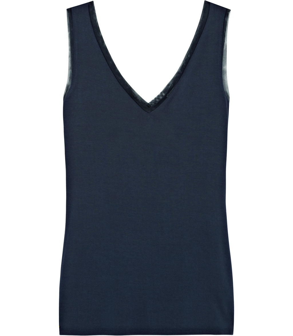 Ona Womens V Neck Tank Top In Blue - neckline: low v-neck; pattern: plain; sleeve style: sleeveless; style: vest top; predominant colour: navy; occasions: casual, creative work; length: standard; fibres: viscose/rayon - stretch; fit: body skimming; sleeve length: sleeveless; pattern type: fabric; texture group: jersey - stretchy/drapey; season: s/s 2016; wardrobe: basic