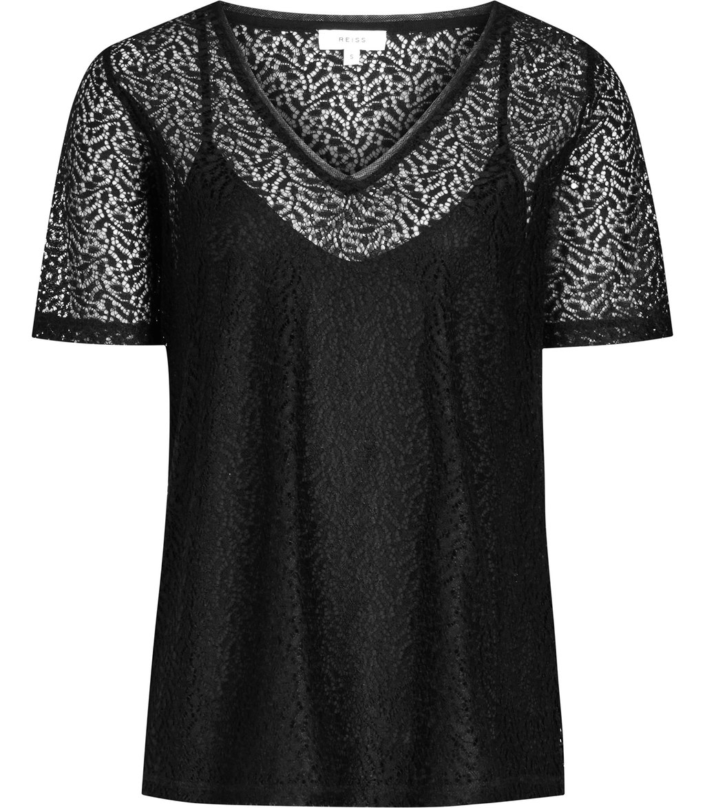 Everly Womens Lace T Shirt In Black - neckline: v-neck; style: t-shirt; predominant colour: black; occasions: casual, creative work; length: standard; fibres: polyester/polyamide - 100%; fit: straight cut; sleeve length: short sleeve; sleeve style: standard; texture group: lace; pattern type: fabric; pattern size: standard; pattern: patterned/print; season: s/s 2016; wardrobe: highlight