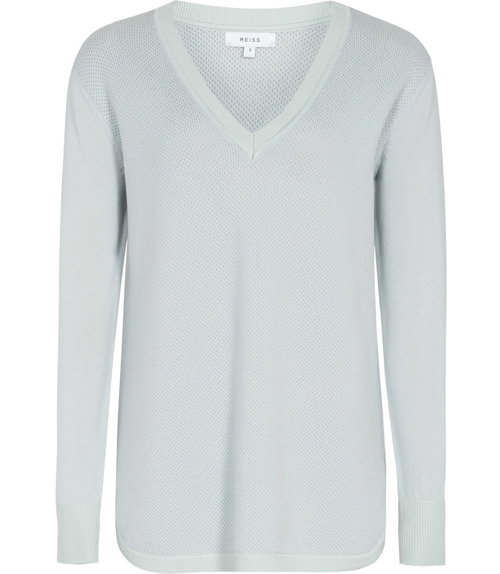 Matilde Womens Textured Body Jumper In Blue - neckline: v-neck; pattern: plain; length: below the bottom; style: standard; predominant colour: pale blue; occasions: casual, work, creative work; fibres: wool - 100%; fit: standard fit; sleeve length: long sleeve; sleeve style: standard; texture group: knits/crochet; pattern type: knitted - fine stitch; season: s/s 2016; wardrobe: highlight