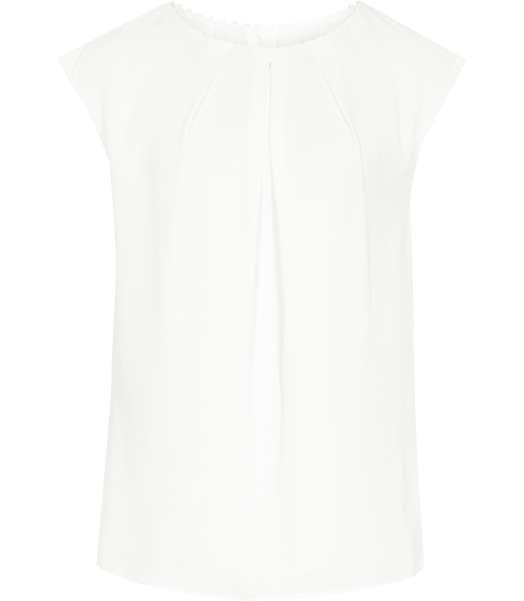 Livia Womens Button Back Top In White - sleeve style: capped; pattern: plain; bust detail: subtle bust detail; predominant colour: white; occasions: casual, creative work; length: standard; style: top; fibres: polyester/polyamide - 100%; fit: straight cut; neckline: crew; sleeve length: short sleeve; texture group: crepes; pattern type: fabric; season: s/s 2016; wardrobe: basic