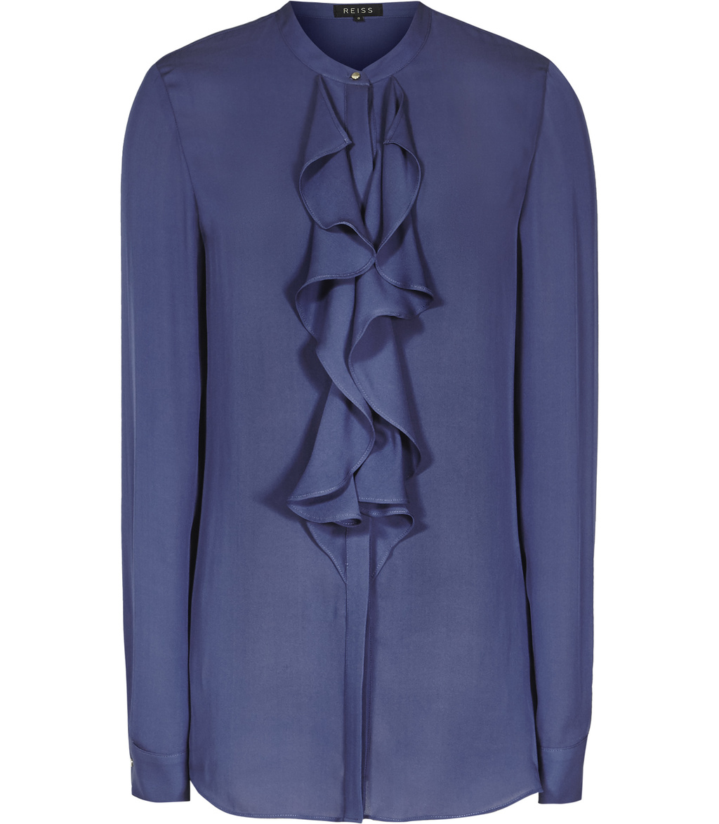 Pippin Womens Ruffle Front Shirt In Blue - pattern: plain; length: below the bottom; style: shirt; predominant colour: royal blue; occasions: work, occasion; neckline: collarstand; fibres: silk - 100%; fit: body skimming; sleeve length: long sleeve; sleeve style: standard; texture group: silky - light; bust detail: bulky details at bust; pattern type: fabric; season: s/s 2016; wardrobe: highlight