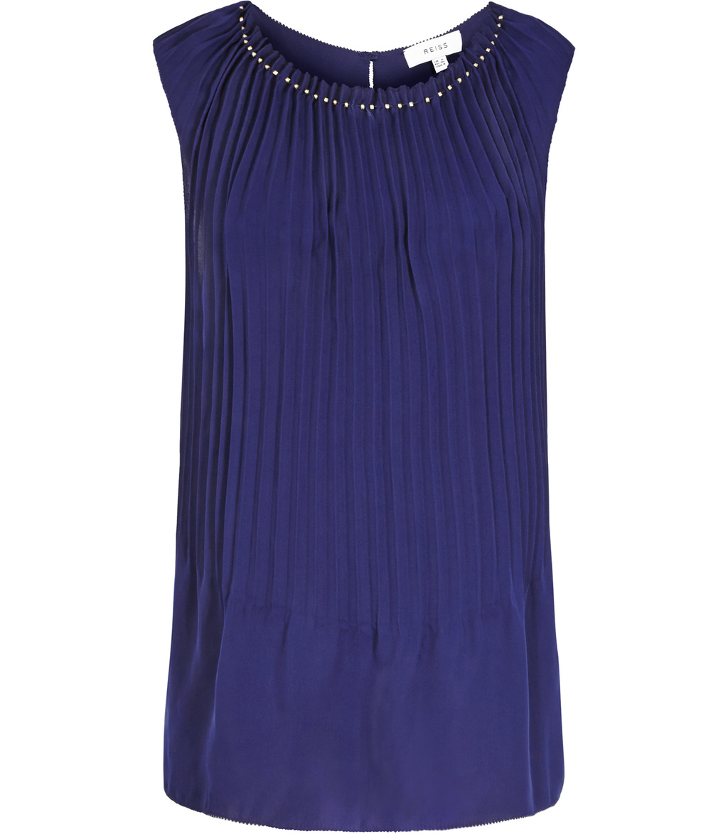Bloom Womens Pleat Front Top In Blue - neckline: round neck; pattern: plain; sleeve style: sleeveless; bust detail: ruching/gathering/draping/layers/pintuck pleats at bust; predominant colour: royal blue; occasions: work; length: standard; style: top; fibres: polyester/polyamide - 100%; fit: body skimming; sleeve length: sleeveless; texture group: sheer fabrics/chiffon/organza etc.; pattern type: fabric; embellishment: beading; season: s/s 2016; wardrobe: highlight