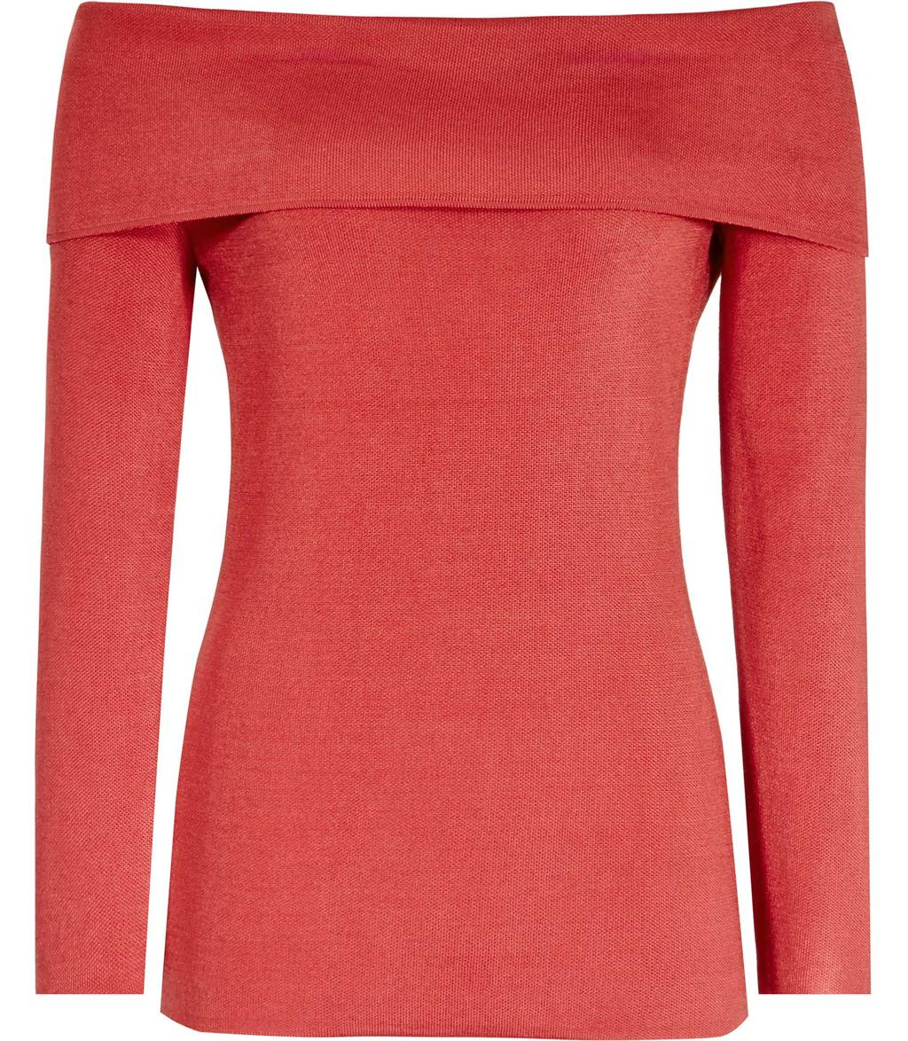 Lita Womens Off The Shoulder Top In Red - neckline: off the shoulder; pattern: plain; predominant colour: true red; occasions: casual, creative work; length: standard; style: top; fibres: wool - mix; fit: body skimming; sleeve length: long sleeve; sleeve style: standard; texture group: knits/crochet; pattern type: knitted - fine stitch; season: s/s 2016; wardrobe: highlight