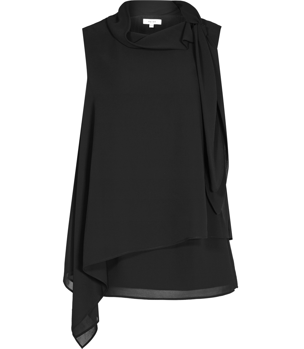 Tris Womens Tie Neck Top In Black - neckline: cowl/draped neck; pattern: plain; sleeve style: sleeveless; length: below the bottom; predominant colour: black; occasions: work; style: top; fibres: polyester/polyamide - 100%; fit: loose; sleeve length: sleeveless; texture group: sheer fabrics/chiffon/organza etc.; hip detail: ruffles/tiers/tie detail at hip; pattern type: fabric; season: s/s 2016; wardrobe: highlight