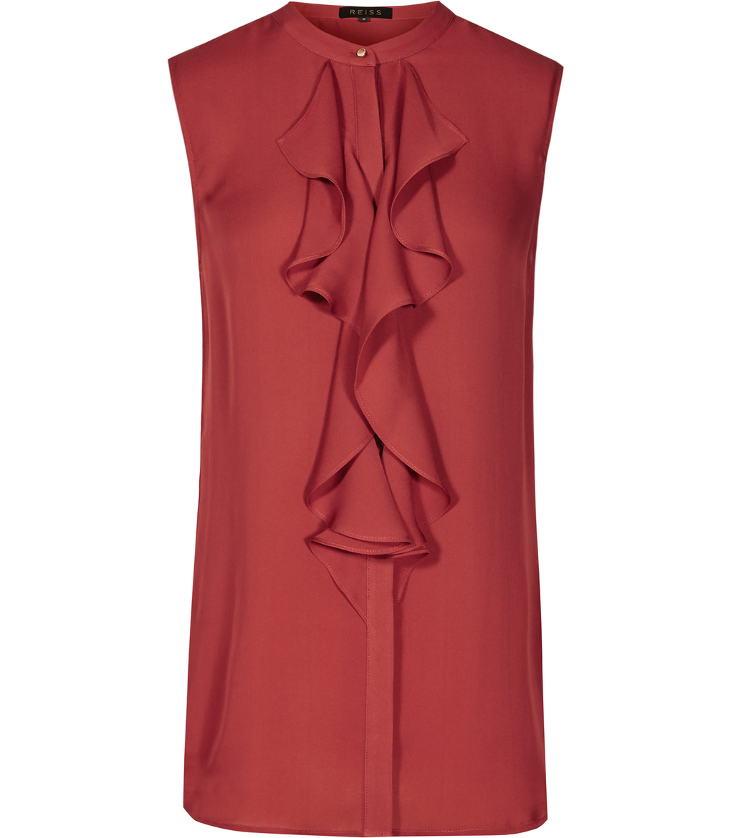 Elias Womens Ruffle Front Top In Red - pattern: plain; sleeve style: sleeveless; predominant colour: terracotta; occasions: work; length: standard; style: top; fibres: silk - 100%; fit: straight cut; neckline: crew; sleeve length: sleeveless; texture group: silky - light; bust detail: bulky details at bust; pattern type: fabric; season: s/s 2016; wardrobe: highlight