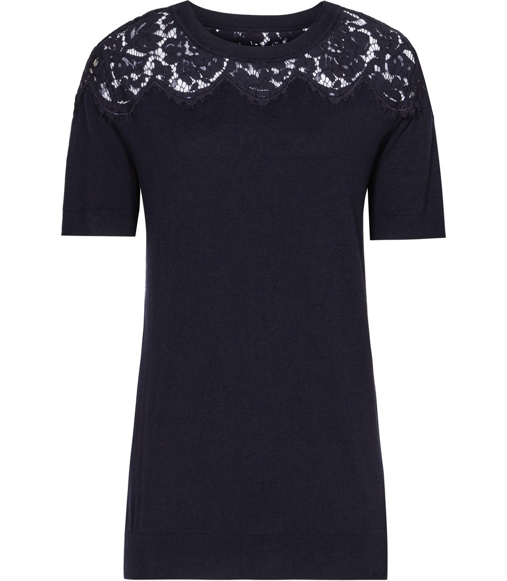 Dana Womens Lace Top Knit In Blue - neckline: round neck; pattern: plain; length: below the bottom; predominant colour: navy; occasions: casual, creative work; style: top; fibres: cotton - 100%; fit: body skimming; sleeve length: short sleeve; sleeve style: standard; texture group: knits/crochet; pattern type: knitted - fine stitch; embellishment: lace; season: s/s 2016; wardrobe: highlight; embellishment location: bust