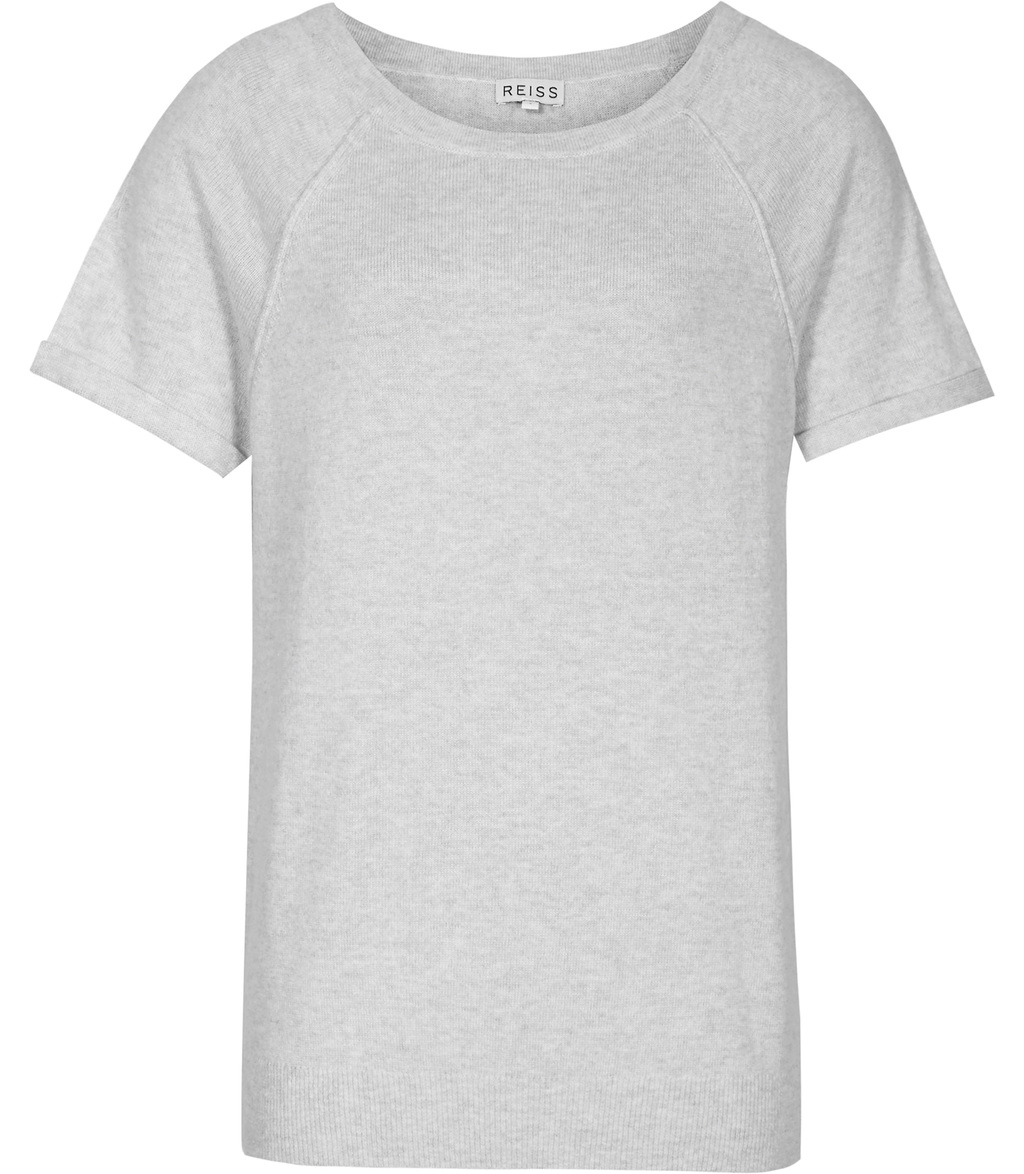Shiloh Womens Knitted T Shirt In Grey - style: t-shirt; predominant colour: light grey; occasions: casual, creative work; length: standard; fibres: wool - mix; fit: straight cut; neckline: crew; sleeve length: short sleeve; sleeve style: standard; texture group: knits/crochet; pattern type: knitted - fine stitch; pattern: marl; season: s/s 2016; wardrobe: basic