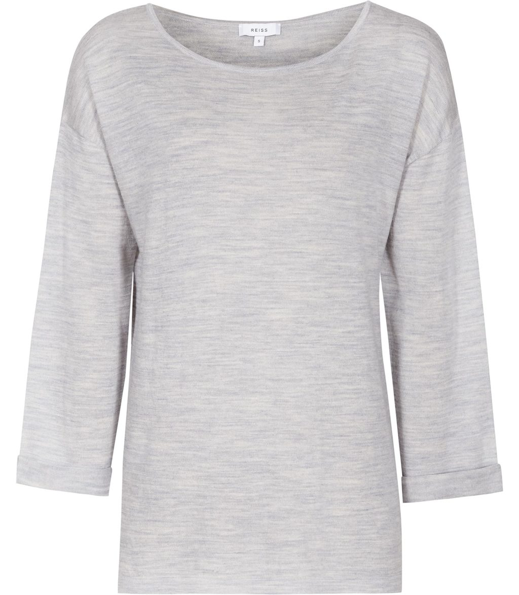 Polly Womens Lightweight Jumper In Grey - neckline: slash/boat neckline; pattern: plain; length: below the bottom; style: standard; predominant colour: light grey; occasions: casual, creative work; fibres: wool - 100%; fit: loose; sleeve length: 3/4 length; sleeve style: standard; texture group: knits/crochet; pattern type: knitted - fine stitch; season: s/s 2016; wardrobe: basic