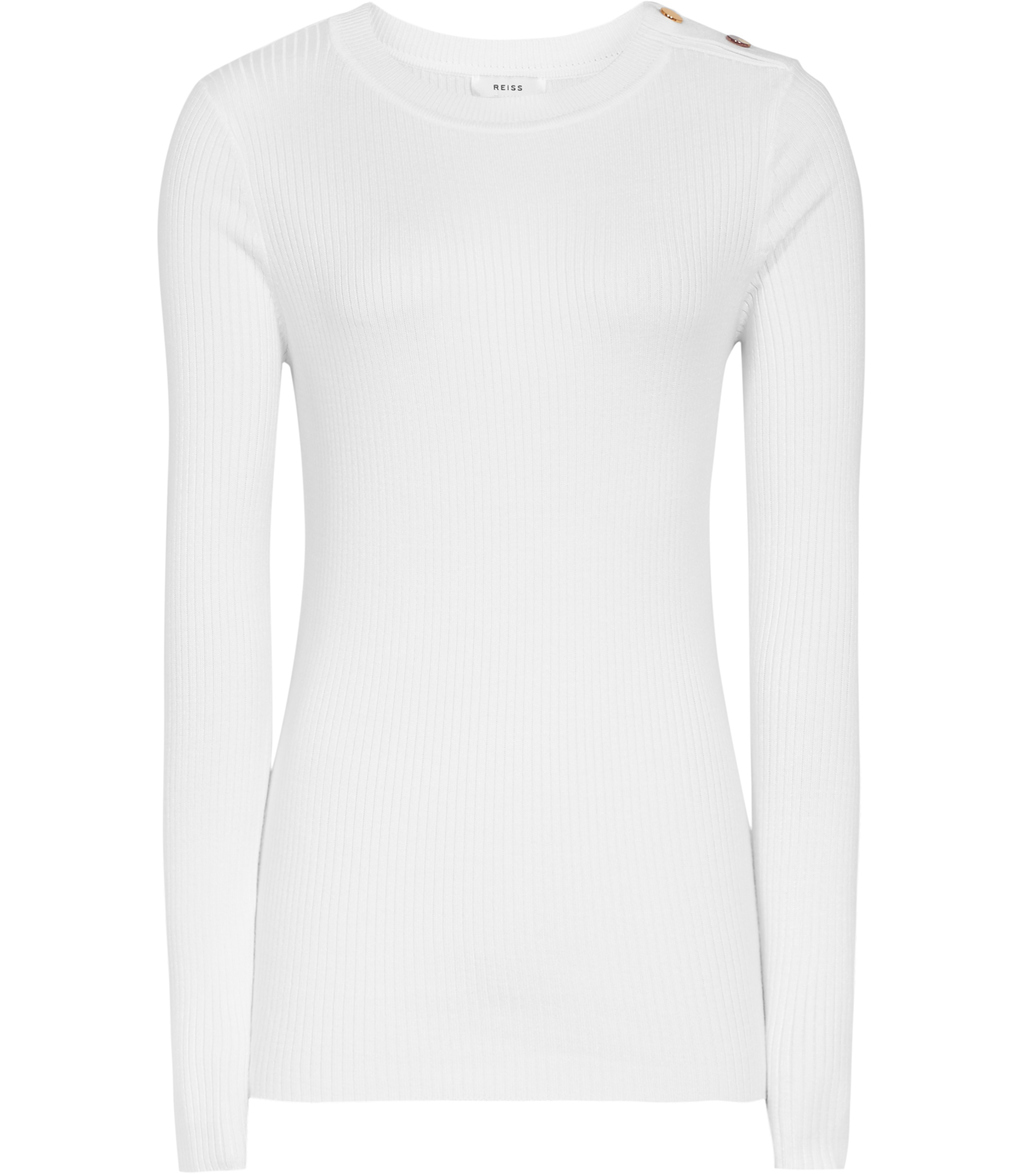 Megana Womens Button Detail Jumper In White - neckline: round neck; pattern: plain; style: standard; predominant colour: white; occasions: casual; length: standard; fibres: viscose/rayon - stretch; fit: standard fit; sleeve length: long sleeve; sleeve style: standard; texture group: knits/crochet; pattern type: knitted - fine stitch; season: s/s 2016; wardrobe: basic