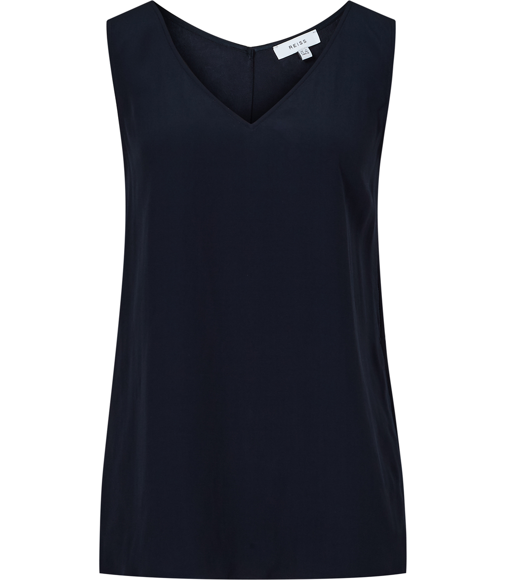 Lauderdale Womens Trim Detail Tank Top In Blue - neckline: v-neck; pattern: plain; sleeve style: sleeveless; style: vest top; predominant colour: navy; occasions: casual; length: standard; fibres: viscose/rayon - 100%; fit: straight cut; sleeve length: sleeveless; pattern type: fabric; texture group: woven light midweight; season: s/s 2016; wardrobe: basic