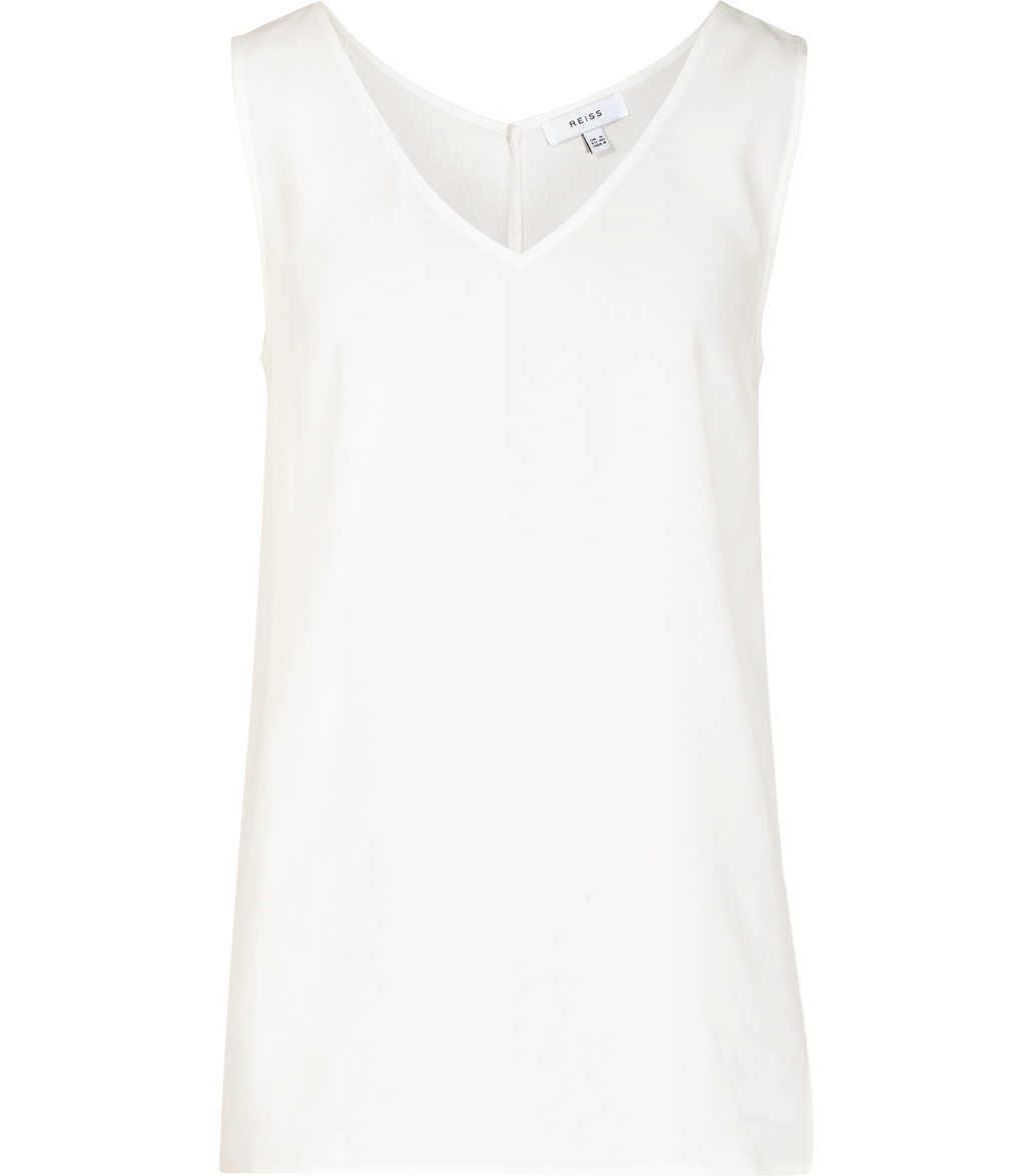 Lauderdale Womens Trim Detail Tank Top In White - neckline: v-neck; sleeve style: standard vest straps/shoulder straps; pattern: plain; length: below the bottom; style: vest top; predominant colour: white; occasions: casual; fibres: viscose/rayon - 100%; fit: straight cut; sleeve length: sleeveless; texture group: crepes; pattern type: fabric; season: s/s 2016; wardrobe: basic