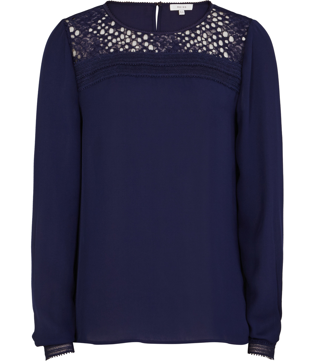 Tilly Womens Lace Detail Top In Blue - pattern: plain; style: blouse; predominant colour: navy; length: standard; fibres: polyester/polyamide - 100%; fit: straight cut; neckline: crew; sleeve length: long sleeve; sleeve style: standard; texture group: cotton feel fabrics; pattern type: fabric; embellishment: lace; occasions: creative work; shoulder detail: sheer at shoulder; season: s/s 2016; wardrobe: highlight