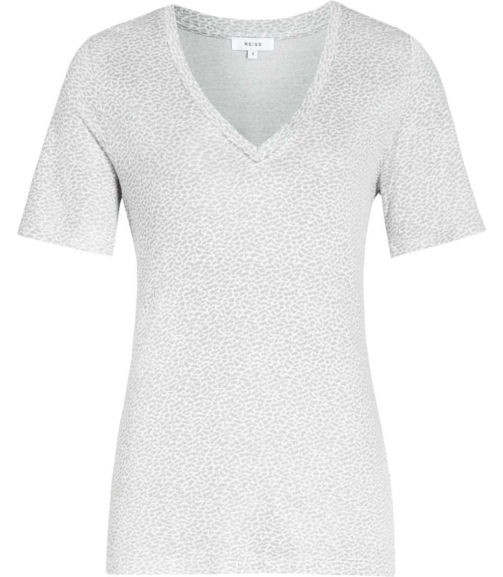 Zeta Womens Animal Pattern T Shirt In White - neckline: v-neck; style: t-shirt; predominant colour: white; occasions: casual, creative work; length: standard; fibres: cotton - stretch; fit: body skimming; sleeve length: short sleeve; sleeve style: standard; texture group: jersey - clingy; pattern type: fabric; pattern size: standard; pattern: patterned/print; season: s/s 2016; wardrobe: highlight