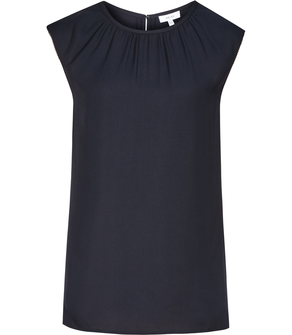 Falcon Womens Double Layer Top In Blue - sleeve style: capped; pattern: plain; length: cropped; bust detail: subtle bust detail; predominant colour: navy; occasions: work; style: top; fibres: polyester/polyamide - 100%; fit: straight cut; neckline: crew; sleeve length: short sleeve; texture group: crepes; pattern type: fabric; season: s/s 2016; wardrobe: basic