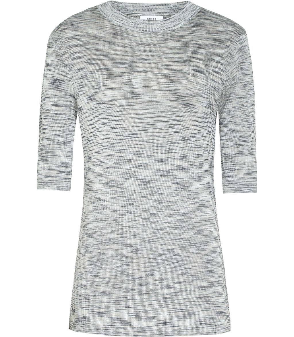 Saskia Womens Short Sleeved Knitted Top In Blue - style: t-shirt; predominant colour: mid grey; secondary colour: light grey; occasions: casual, creative work; length: standard; fibres: wool - mix; fit: straight cut; neckline: crew; sleeve length: half sleeve; sleeve style: standard; texture group: knits/crochet; pattern type: knitted - fine stitch; pattern: marl; season: s/s 2016; wardrobe: basic