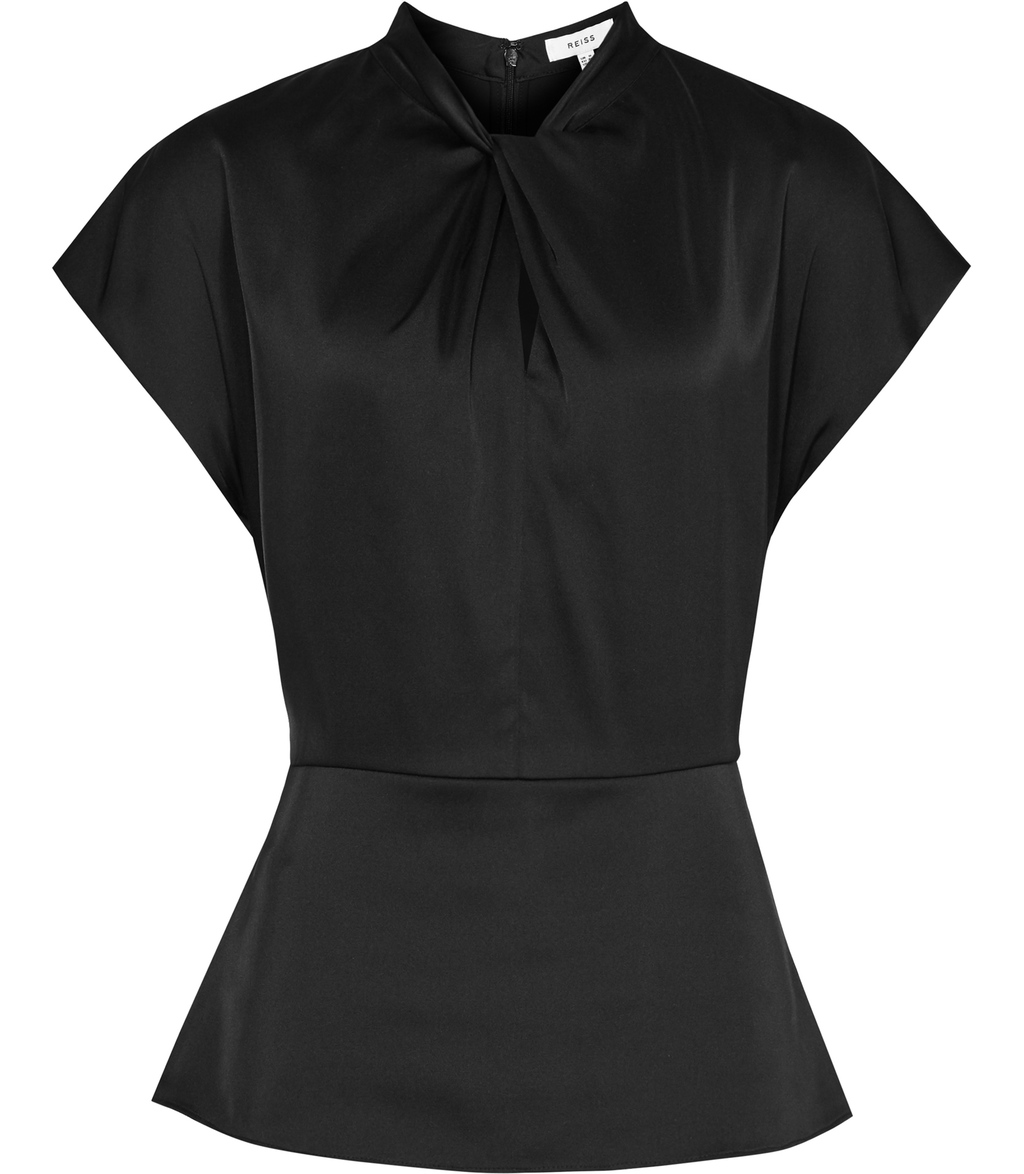 Trex Womens Evening Top In Black - sleeve style: capped; pattern: plain; neckline: high neck; waist detail: peplum waist detail; bust detail: ruching/gathering/draping/layers/pintuck pleats at bust; predominant colour: black; occasions: evening; length: standard; style: top; fibres: silk - mix; fit: tailored/fitted; sleeve length: short sleeve; texture group: structured shiny - satin/tafetta/silk etc.; pattern type: fabric; season: s/s 2016