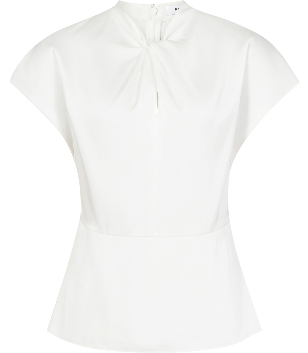Trex Womens Evening Top In White - neckline: v-neck; sleeve style: capped; pattern: plain; style: blouse; waist detail: peplum waist detail; predominant colour: white; length: standard; fibres: cotton - 100%; fit: tailored/fitted; sleeve length: short sleeve; texture group: cotton feel fabrics; pattern type: fabric; occasions: creative work; season: s/s 2016; wardrobe: basic