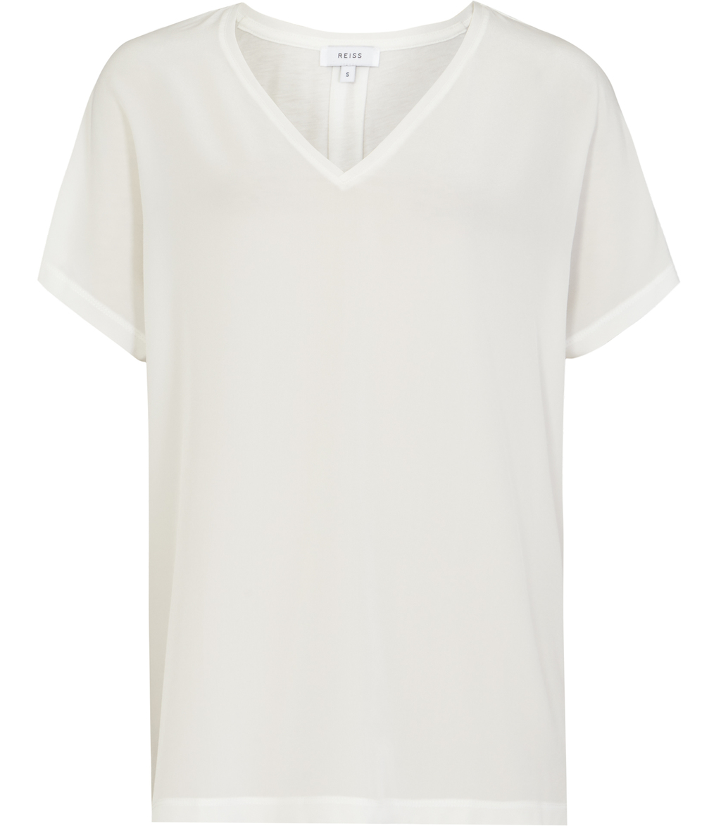 Darcy Womens Silk Front T Shirt In White - neckline: v-neck; pattern: plain; style: t-shirt; predominant colour: white; occasions: casual, creative work; length: standard; fibres: silk - 100%; fit: straight cut; sleeve length: short sleeve; sleeve style: standard; texture group: silky - light; pattern type: fabric; season: s/s 2016; wardrobe: basic