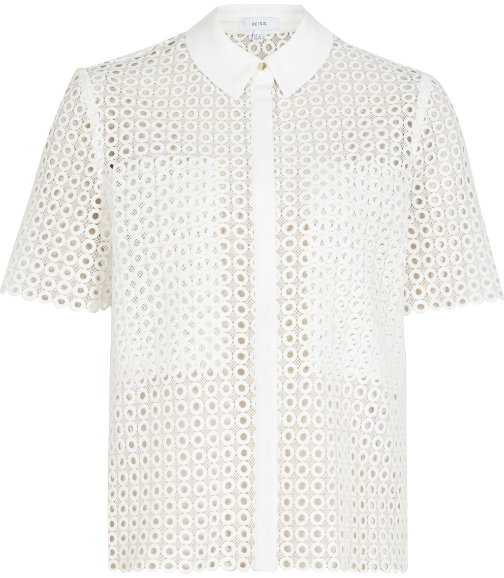 Lily Womens Lace Short Sleeved Shirt In White - neckline: shirt collar/peter pan/zip with opening; style: shirt; predominant colour: white; occasions: casual, creative work; length: standard; fibres: cotton - 100%; fit: straight cut; sleeve length: short sleeve; sleeve style: standard; bust detail: bulky details at bust; pattern type: fabric; pattern size: light/subtle; pattern: patterned/print; texture group: broiderie anglais; season: s/s 2016; wardrobe: highlight