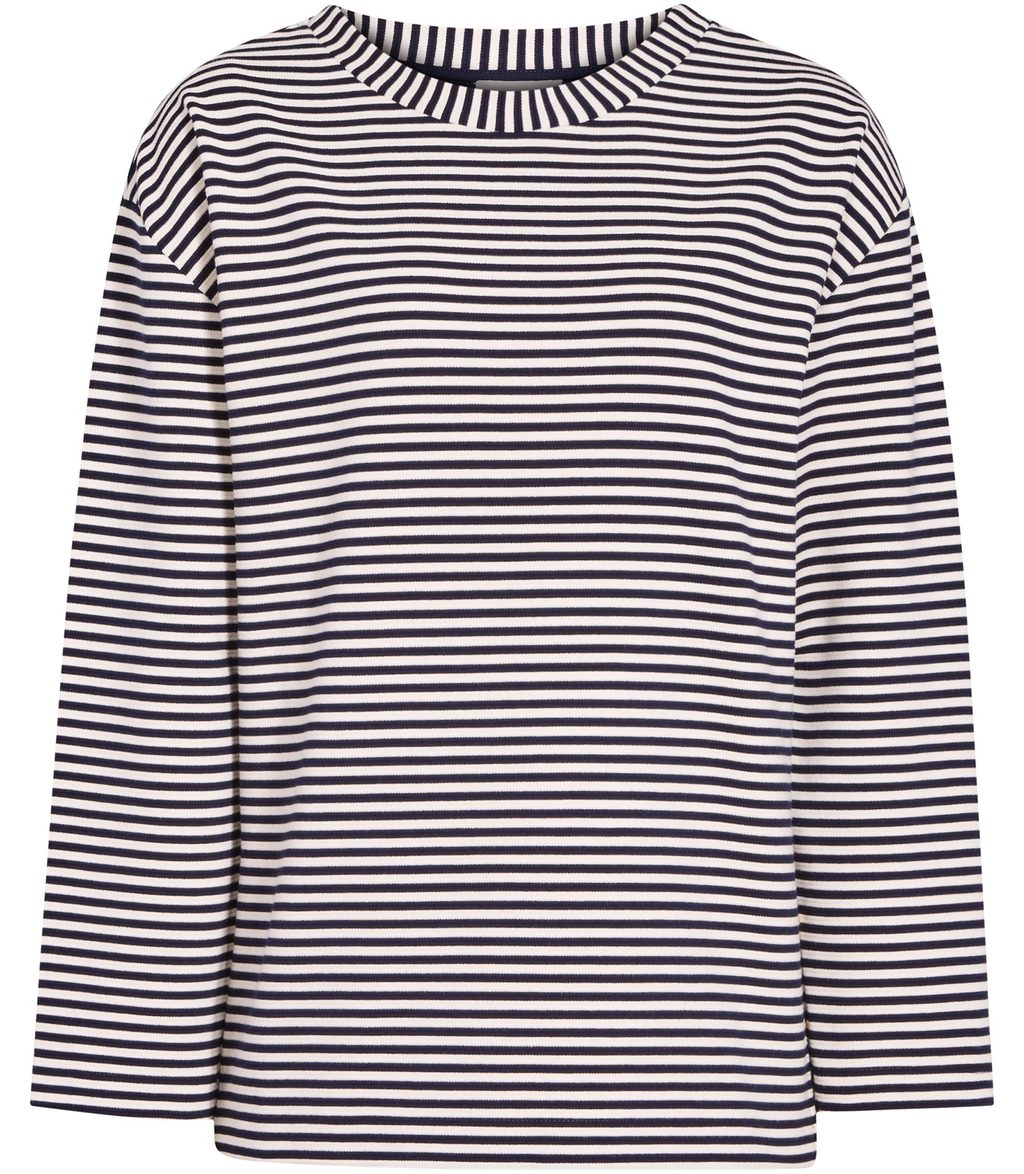 Tallie Womens Striped Long Sleeved Top In Blue - neckline: round neck; pattern: horizontal stripes; secondary colour: white; predominant colour: navy; occasions: casual, creative work; length: standard; style: top; fibres: cotton - stretch; fit: straight cut; sleeve length: 3/4 length; sleeve style: standard; texture group: cotton feel fabrics; pattern type: fabric; pattern size: big & busy (top); season: s/s 2016; wardrobe: basic