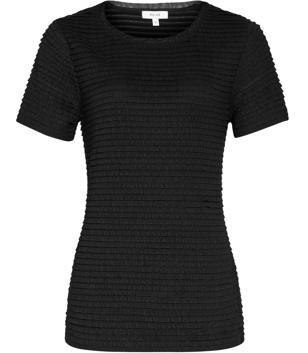 Rewe Womens Textured T Shirt In Black - pattern: plain; style: t-shirt; predominant colour: black; occasions: casual; length: standard; fibres: polyester/polyamide - stretch; fit: body skimming; neckline: crew; sleeve length: short sleeve; sleeve style: standard; pattern type: fabric; texture group: jersey - stretchy/drapey; season: s/s 2016