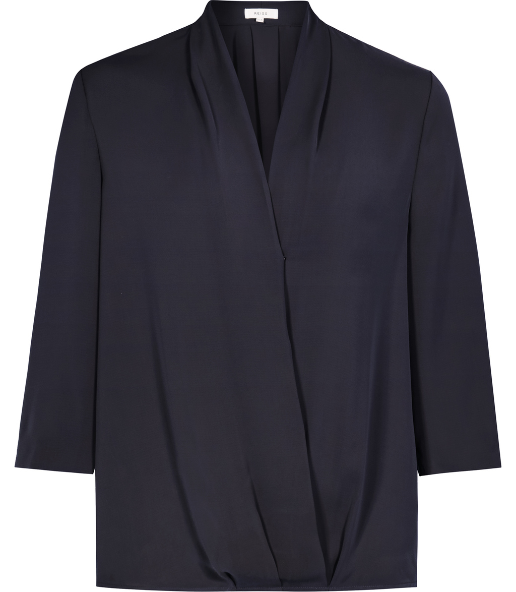 Keats Womens Wrap Front Top In Blue - neckline: v-neck; pattern: plain; style: wrap/faux wrap; predominant colour: navy; occasions: work; length: standard; fibres: polyester/polyamide - 100%; fit: body skimming; sleeve length: 3/4 length; sleeve style: standard; pattern type: fabric; texture group: jersey - stretchy/drapey; season: s/s 2016; wardrobe: basic