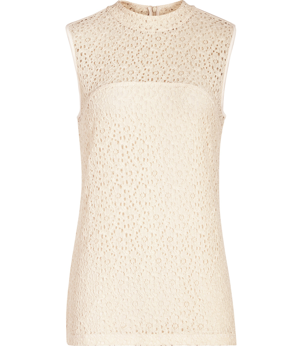 Leigh Womens High Neck Lace Top In Orange - pattern: plain; sleeve style: sleeveless; length: below the bottom; predominant colour: nude; occasions: evening; style: top; fibres: polyester/polyamide - 100%; fit: body skimming; neckline: crew; sleeve length: sleeveless; pattern type: fabric; texture group: other - light to midweight; embellishment: lace; season: s/s 2016; wardrobe: event