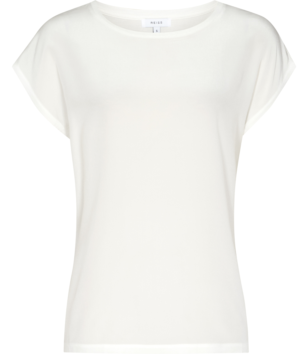 Kiki Womens Silk Front T Shirt In White - neckline: round neck; sleeve style: capped; pattern: plain; style: t-shirt; predominant colour: white; occasions: casual, work, creative work; length: standard; fibres: silk - mix; fit: body skimming; sleeve length: short sleeve; texture group: silky - light; pattern type: fabric; season: s/s 2016; wardrobe: basic