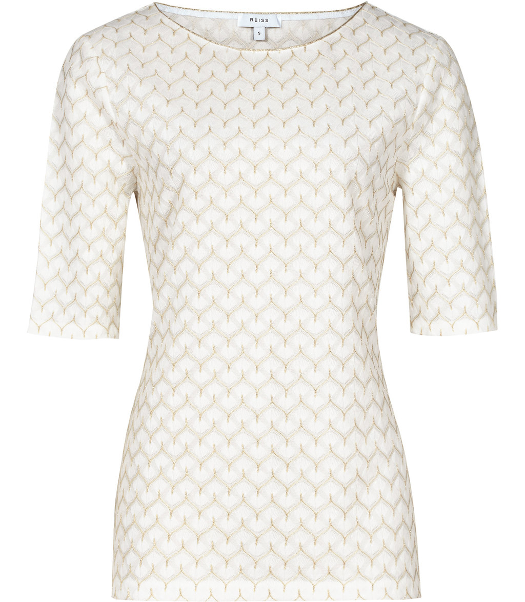 Deco Womens Metallic Detail Top In White - style: t-shirt; predominant colour: ivory/cream; length: standard; fibres: polyester/polyamide - 100%; fit: body skimming; neckline: crew; sleeve length: half sleeve; sleeve style: standard; texture group: lace; pattern type: fabric; pattern size: light/subtle; pattern: patterned/print; occasions: creative work; season: s/s 2016
