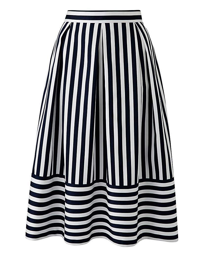 Closet Striped Prom Skirt - length: below the knee; pattern: striped; style: full/prom skirt; fit: loose/voluminous; waist: high rise; secondary colour: white; predominant colour: black; fibres: polyester/polyamide - 100%; occasions: occasion, creative work; hip detail: adds bulk at the hips; waist detail: feature waist detail; trends: monochrome; pattern type: fabric; texture group: woven light midweight; pattern size: big & busy (bottom); season: s/s 2016; wardrobe: highlight